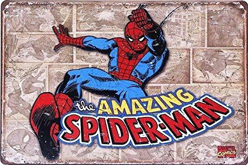 (UNiQ Designs Spiderman Poster - Retro Comic Super Hero Wall Art Metal Posters Tin Signs - Spiderman Wall Decor Superhero Signs Comic Posters - Retro Movie Posters - Spiderman Wall Art 8x12)