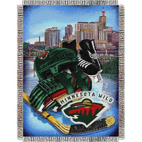 (The Northwest Company Officially Licensed NHL Minnesota Wild Homefield Ice Advantage Woven Tapestry Throw Blanket, 48