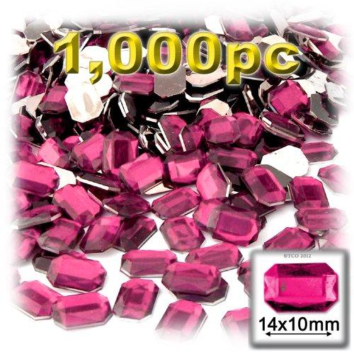 長方形の八角形Craftsコンセント1000-pieceアクリルアルミ箔フラットバックラインストーン、10by 14mm、ホットピンクの商品画像