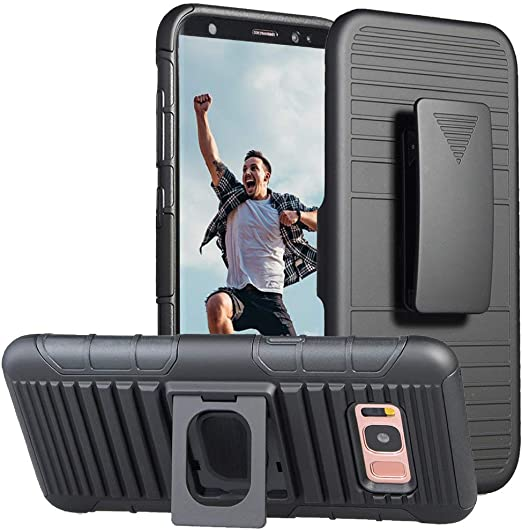 Jeylly Coque intégrale pour Galaxy S8 S8 avec clip ceinture Noir Robuste Résistant aux chocs avec béquille de transport pour Samsung Galaxy S8 SVIII ...