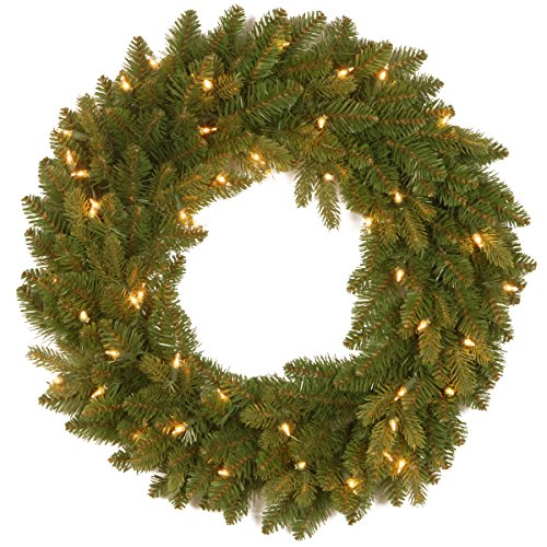 """24 Inch """"Feel-Real"""" Avalon Spruce Wreath with 50 Clear Lights () - National Tree PEAV7-300-24W-1"""