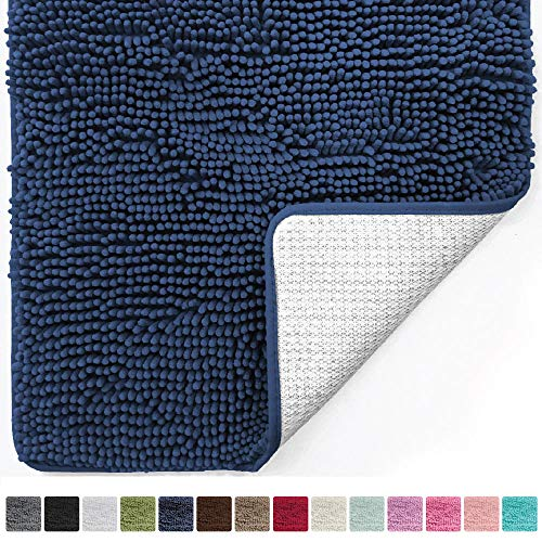 Gorilla Grip Original Luxury Chenille Bathroom Rug Mat (44 x 26), Extra Soft and Absorbent Large Shaggy Rugs, Machine Wash/Dry, Perfect Plush Carpet Mats for Tub, Shower, and Bath Room (Navy Blue)