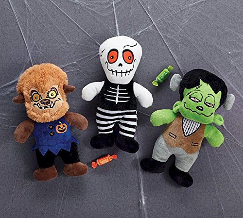 Giddy Ghouls Bundle of 3 - Werewolf, Skeleton, Frankenstein - 10 Inch Plush]()
