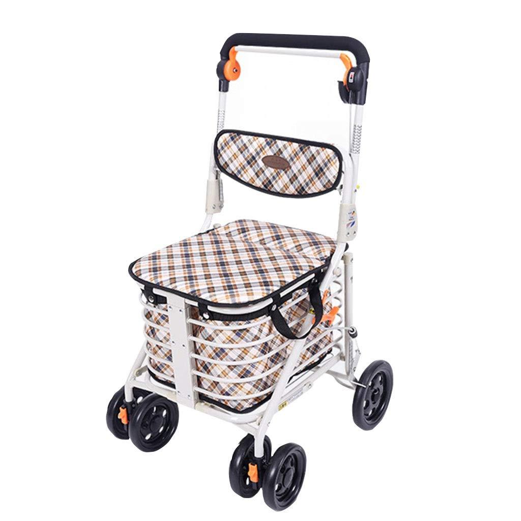 ショッピングカート高齢者ウォーカーは折りたたみ車椅子四輪トロリー家庭用食料品ショッピングカートギフトカートに入れることができます100 Kg (Color : BROWN, Size : 48*58*92CM) B07SC4KLNS BROWN 48*58*92CM