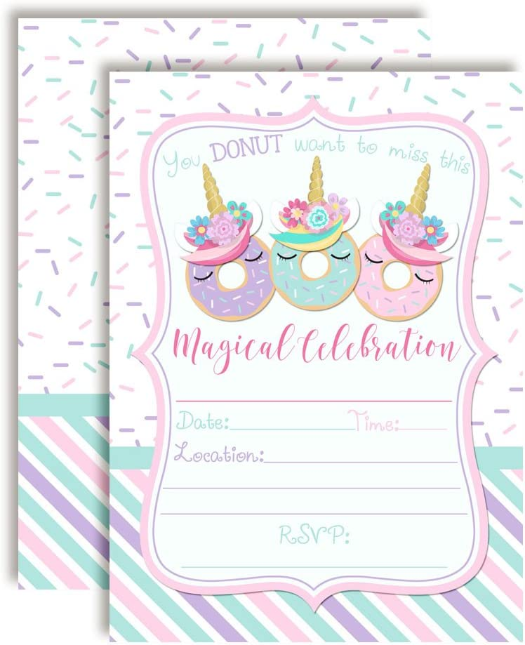 20 5x7 Fill in Cards with Twenty White Envelopes by AmandaCreation Magically Sweet Donut Unicorn Birthday Party Invitations for Girls