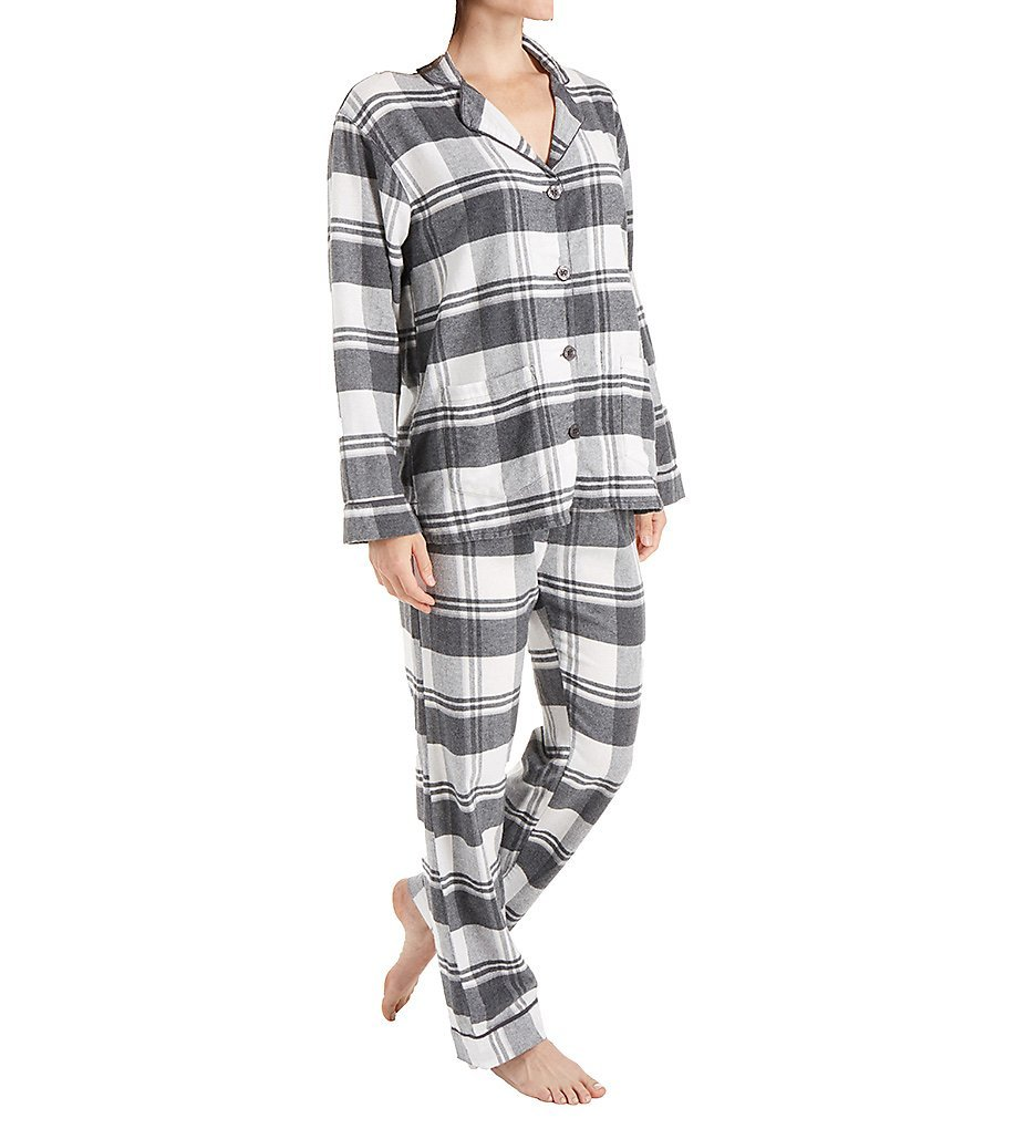 PJ Salvage Women's Sleigh All Day Flannel PJ Set, Grey, M