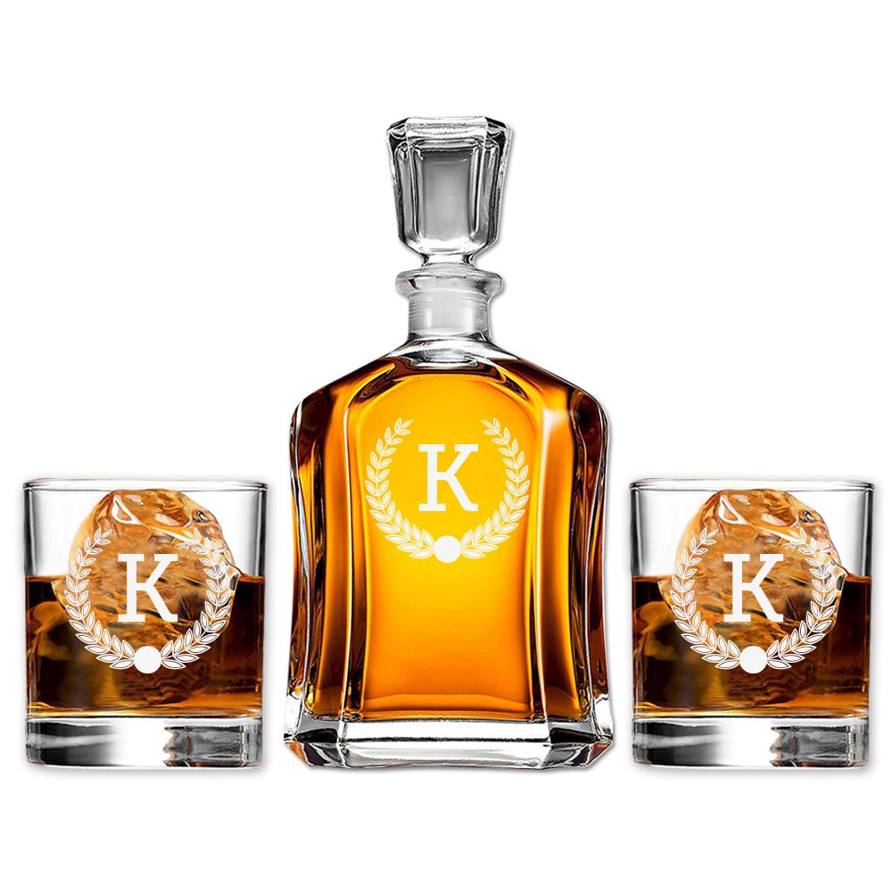 Monogram Scotch Glass & Whiskey Decanter Set, Absolutely Perfect Gift for Groomsmen, Fathers Day, Anniversary, Housewarming or any special occasion by Froolu (Image #1)