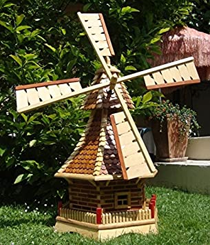 Decorative Garden Windmill Ornament 1 Metre High With Wooden Shingle Roof  Light Brown And Natural Wood