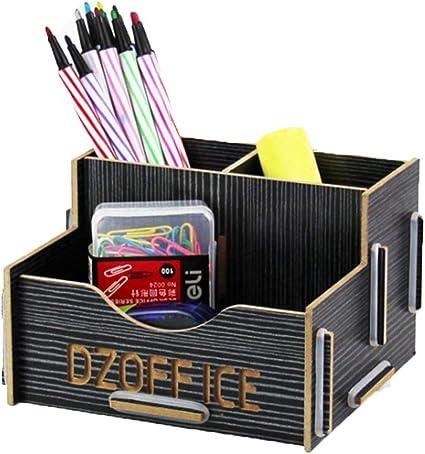 kentop Madera lápices caja portabolígrafos Mini escritorio ...