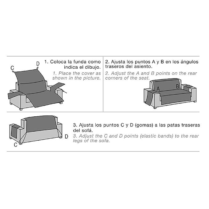 Jarrous Funda Cubre Sofá Acolchada Modelo Reversible Pelícano, Color Gris Claro-Gris Oscuro, Medida 1 Plaza – 55cm Respaldo