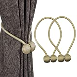 FINROS 2 Pieces Magnetic Curtain Drapes Tiebacks Rope Decorative Window Curtain Holdbacks Holders Clips (Beige)