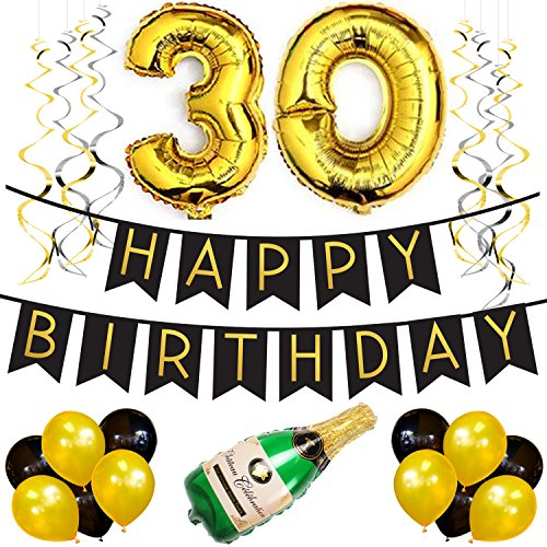 Sterling James Co. 30th Birthday Party Pack – Black & Gold Happy Birthday Bunting, Poms, and Swirls Pack- Birthday Decorations – 30th Birthday Party -