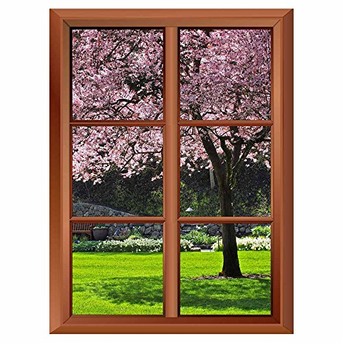 Removable Wall Sticker Wall Mural Cherry Bloom in the Park Creative Window View Vinyl Sticker