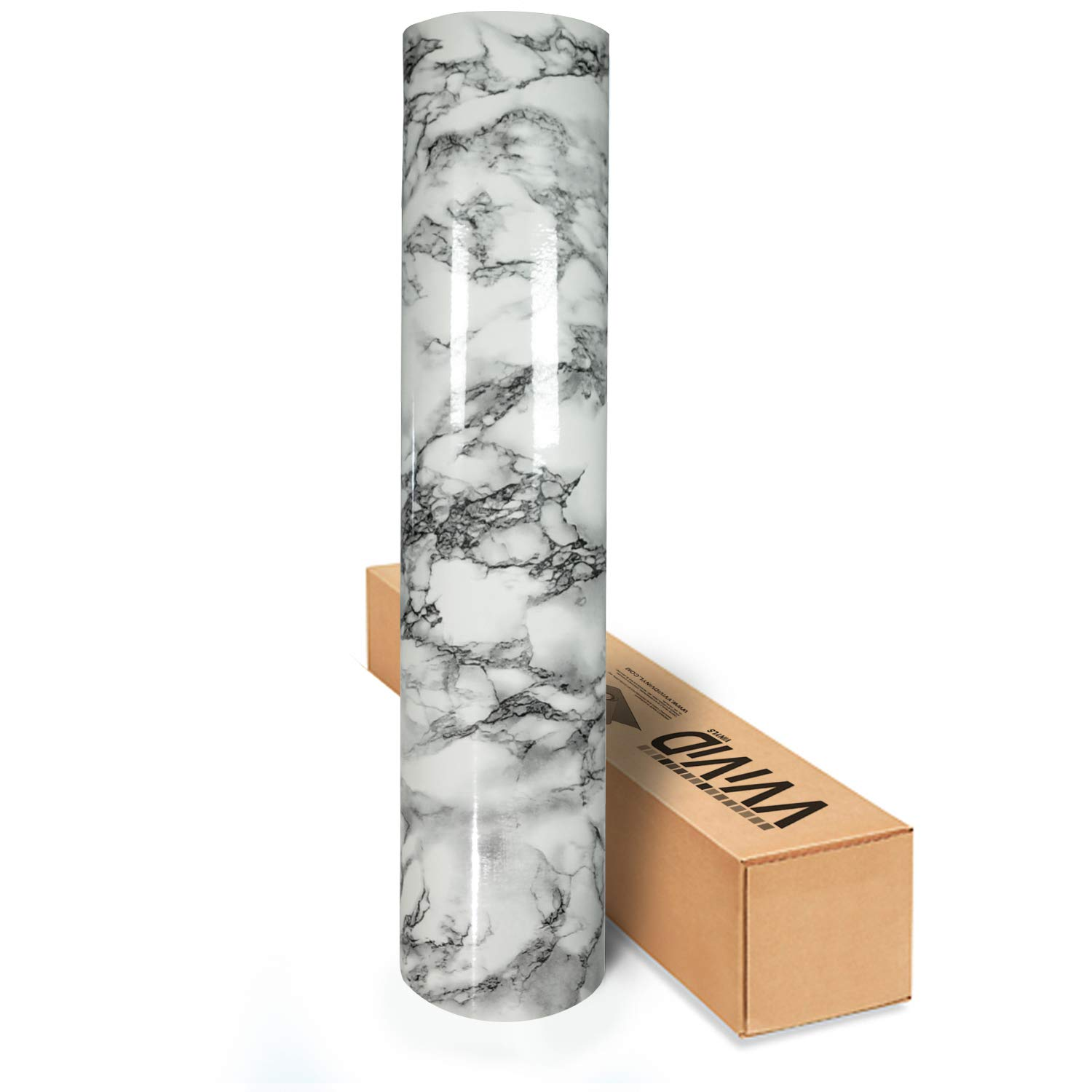 VViViD Architectural Natural Look 16' x 6.5ft Vinyl Contact Film Textured Finish Roll (Black Veined Marble)