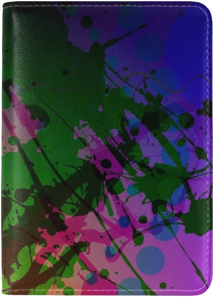 JiaoL Abstract Colorful Blur Leather Passport Holder Cover Case Travel One Pocket