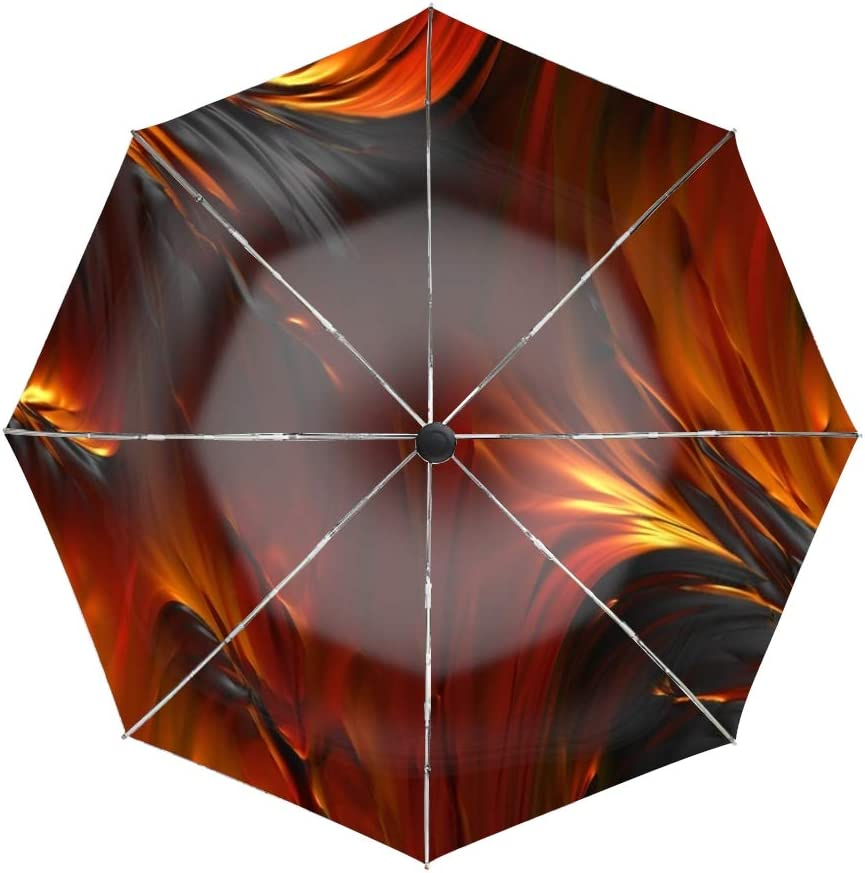 Ergonomic Non-Slip Handle Compact Umbrella,Fire Oil Paint Oiled Automatic Folding Travel Umbrella Auto Open//Close