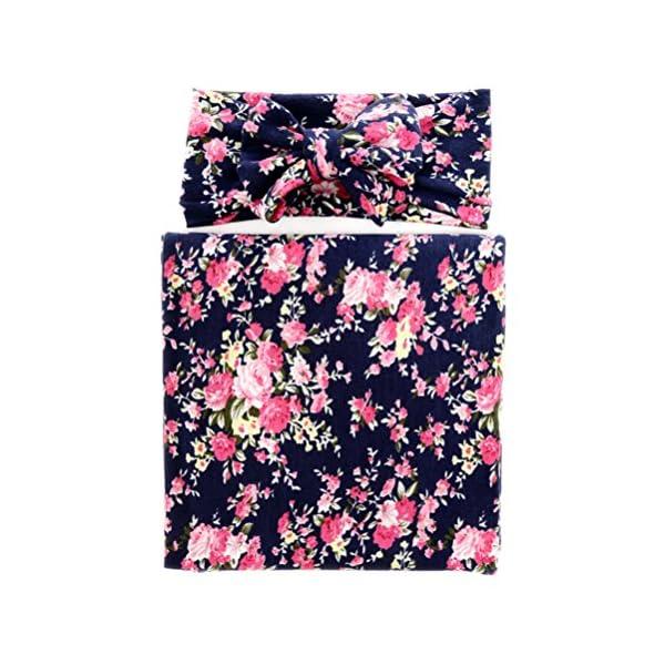 Hcside Newborn Baby Cotton Swaddle Blanket Bedding Covers Floral Headband Sleeping Blankets (Dark blue)