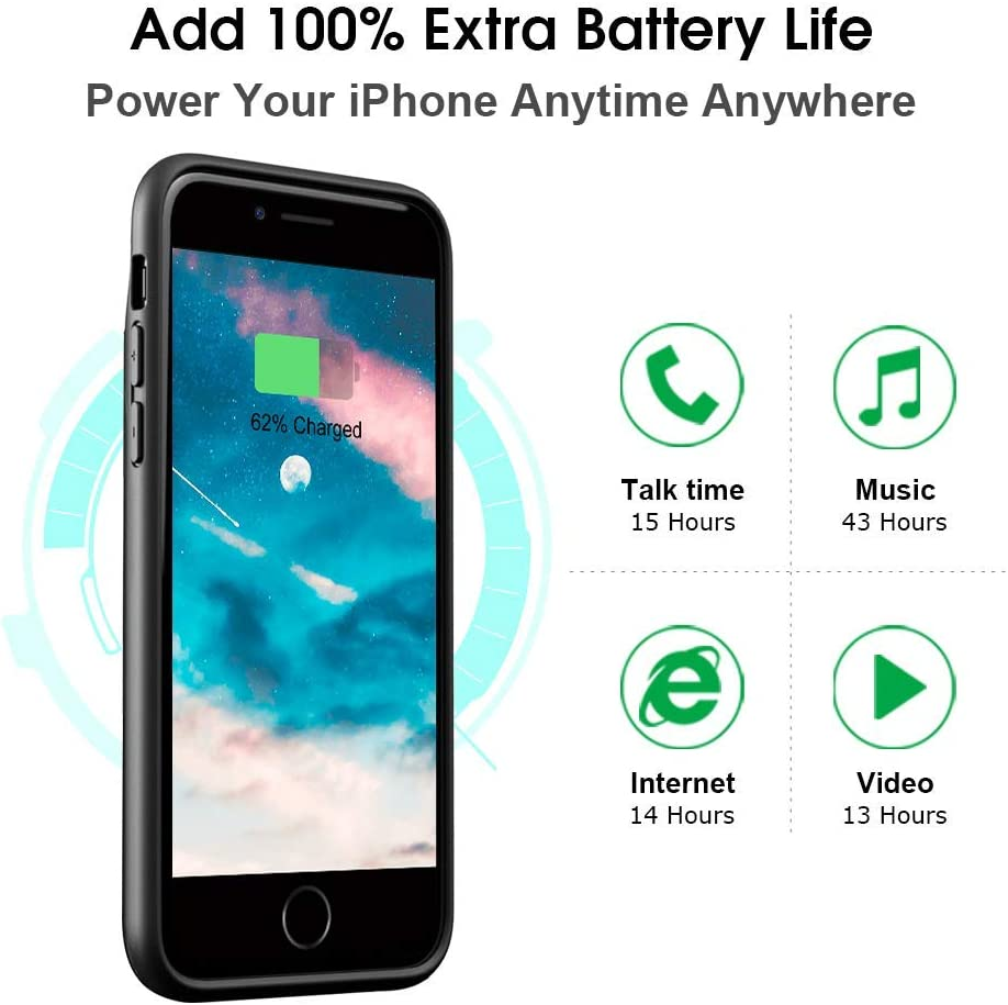 4.7 inch DESTEK Battery Case for iPhone 8 7 6 6s Compatible w// Wire Headphones 3000mAh Ultra Slim Portable Charging Case Rechargeable Magnetic Charger Case