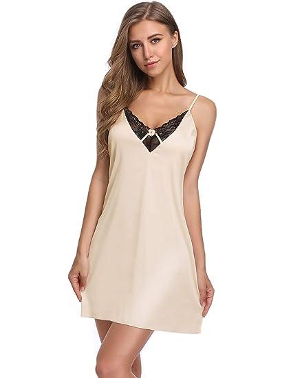d5dcf2b9a34 Lusofie Sexy Nightgown Women s Satin Chemise Lace Trim Full Slip Spaghetti  Strap Sleepwear at Amazon Women s Clothing store