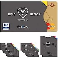TÜV geprüfte RFID Schutzhülle Kreditkarten reißfest [14 St.] 100% RFID NFC Schutz für Kreditkarten, EC Karten Hülle | NFC Schutzhülle Kreditkarte | RFID Blocker | Kreditkartenhülle abgeschirmt