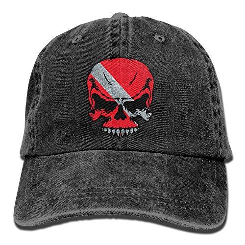 Hat Diver (FastsCOW Scuba Diving Skull Flag Dive Diver.PNG Vintage Washed Dyed Cotton Twill Low Profile Adjustable Baseball Cap Black)