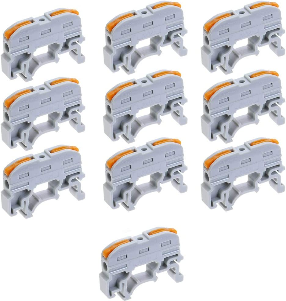 Acxico 10Pcs PCT-211 Din Rail Universal Compact Wire Wiring Connector Quick Connection Terminal Block Press Type Connector Gray