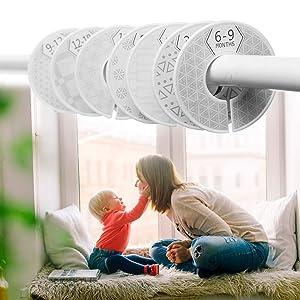 Baby Closet Size Dividers, Set of 7 Modern Grey & White Unisex Nursery Closet Dividers, Closet Organizer, Nursery Decor & Baby Gift,Newborn to 24 Months