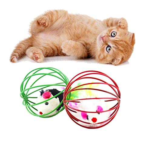 Recoproqfje - Pelota interactiva para Gatos con ratón simulado, Color al Azar