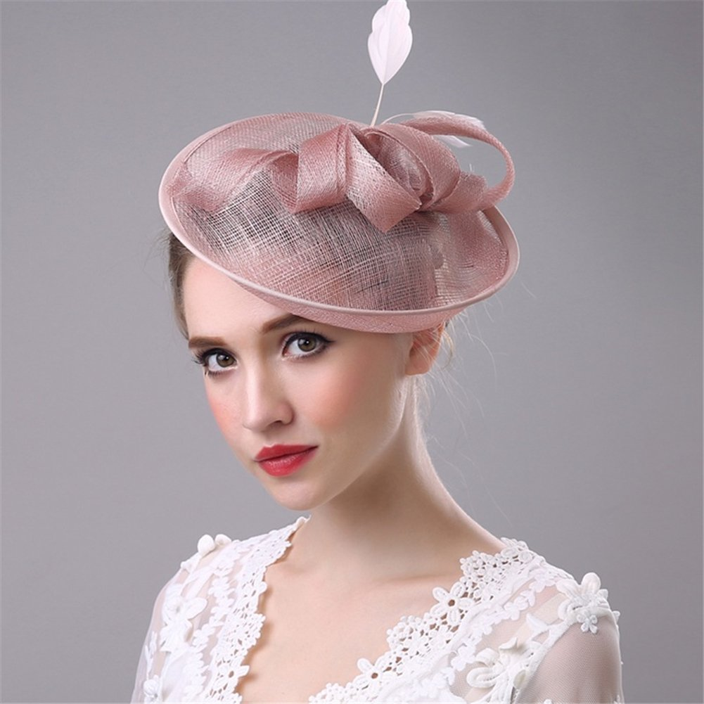 Women's Vintage Fascinators Hat Flower Mesh Ribbons Feathers with Clip for Wedding Bridal Headware by Hoxekle (Image #2)