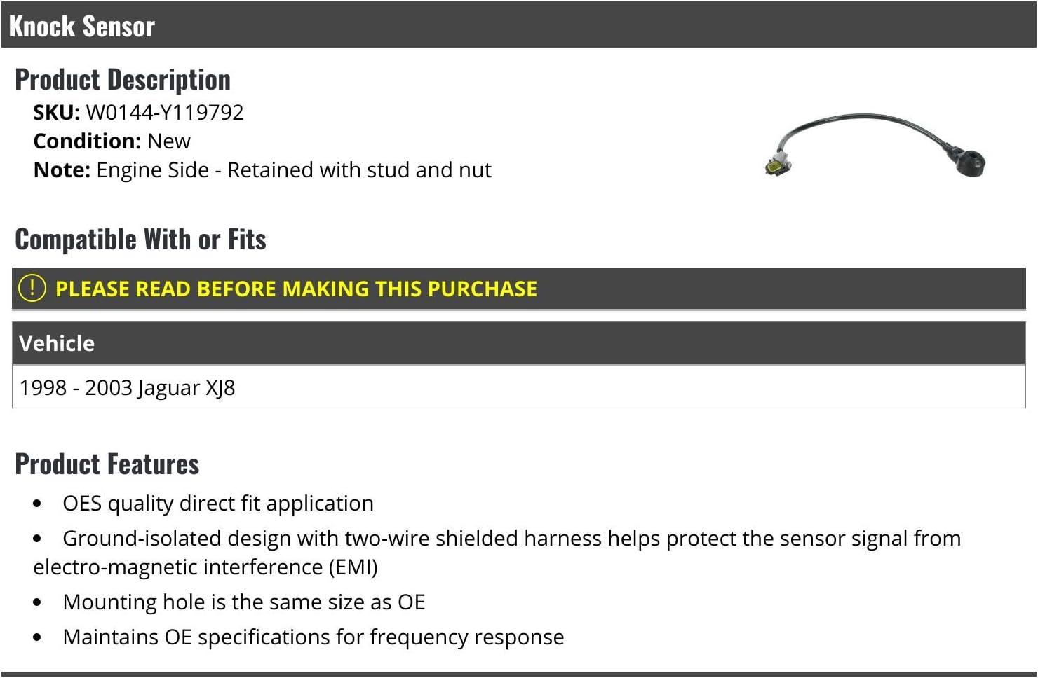 Compatible with 1998-2003 Jaguar XJ8 Engine Side Knock Sensor