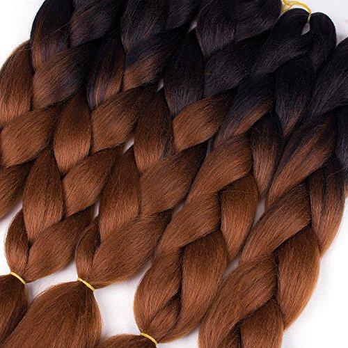 WIGENIUS 5 Pieces Jumbo Braid Hair Ombre Braiding Hair Kanekalon Braid Hair Extensions Braid for Fiber Twist Hot Water Setting Xpressions Black/Dark Brown Color Braiding Hair (5PCS, Black/Dark Brown)