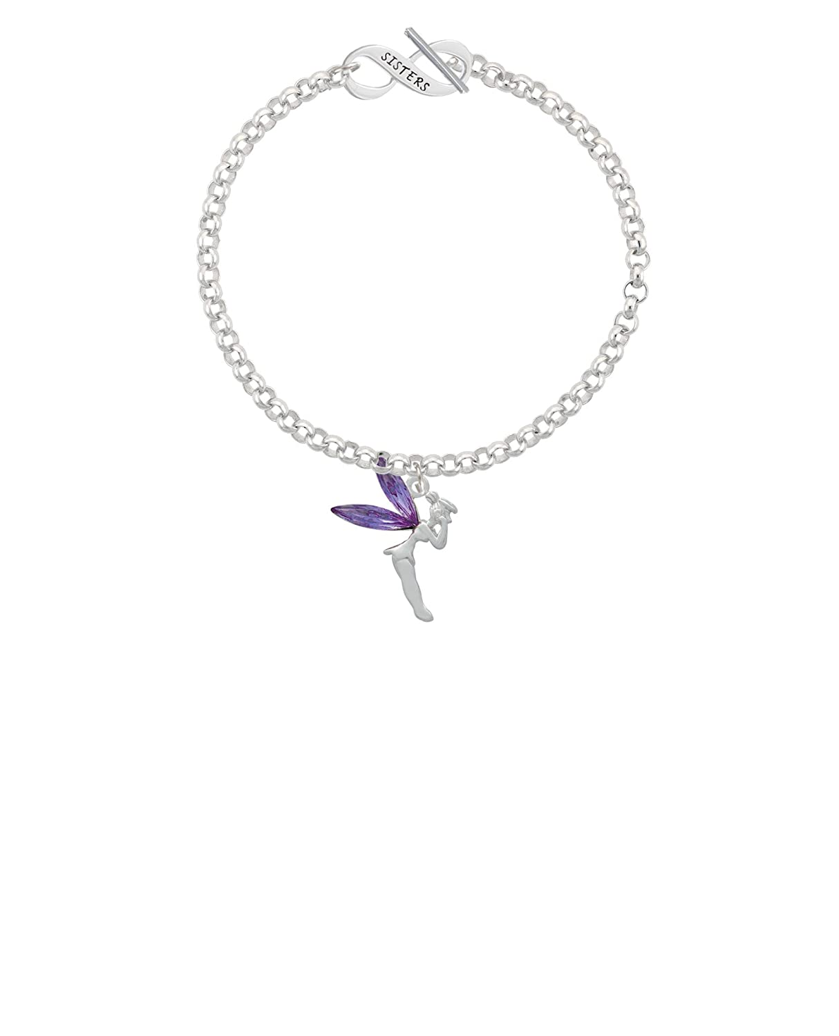 8 Silvertone Large Fairy with Purple Wings Sisters Infinity Toggle Chain Bracelet