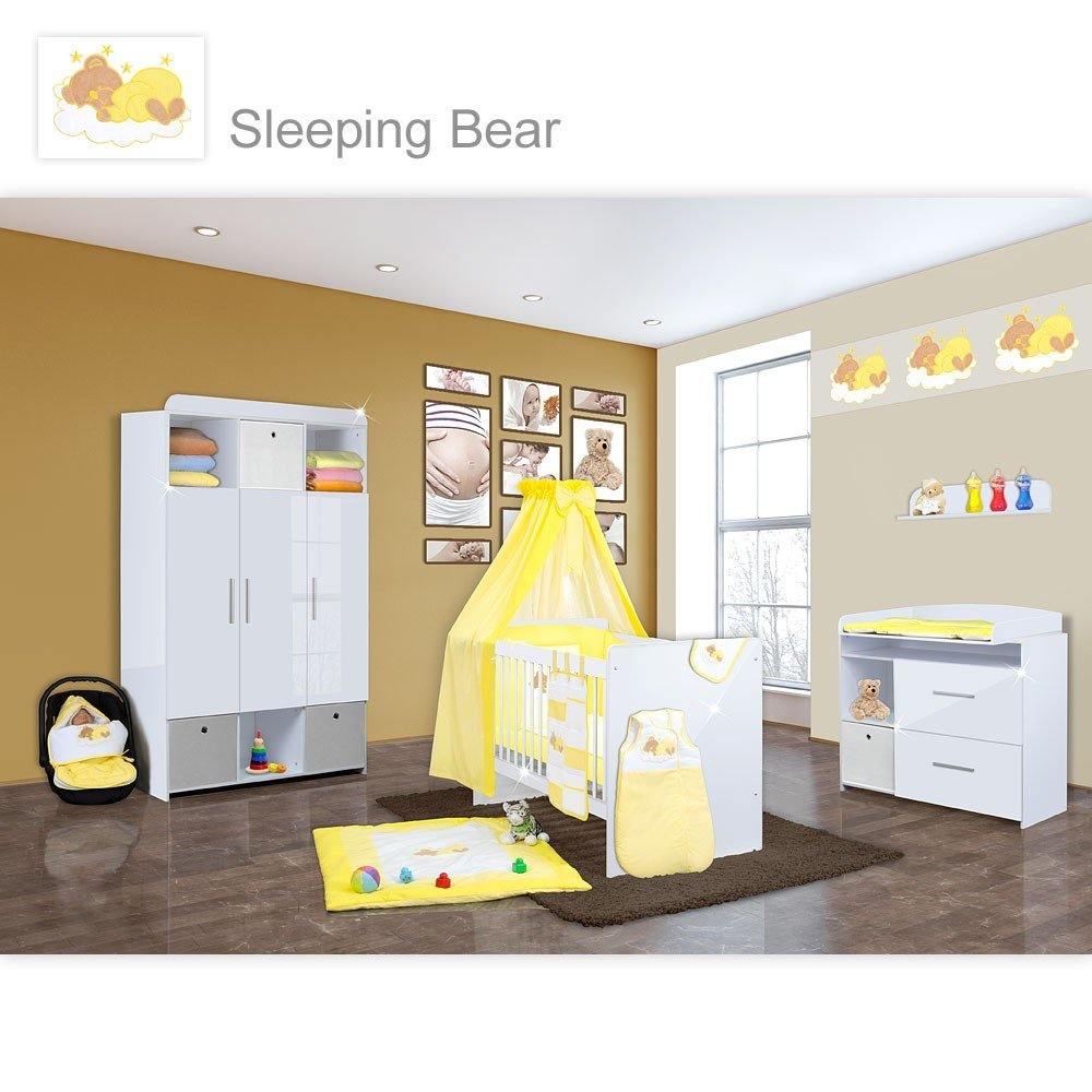 Babyzimmer Mexx in Weiss Hochglanz 20 tlg. Mit 3 türigem Kl. + Sleeping Bear Gelb
