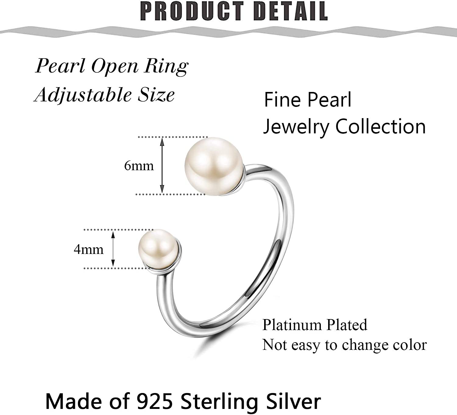 Pearl Statement Ring Handmade Silver Pearl Set Open Solid Silver Pearl Earrings White /& Black Pearl Silver Set Alternative Ring