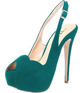 b5b96619eb5a ERIJUNOR Women High Heel Peep Toe Rhinestones Slingback Platform ...