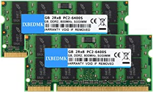 4GB Kit (2X 2GB) 2RX8 PC2-6300 PC2-6400 PC2-6400S DDR2 800MHz SODIMM CL6 200 Pin 1.8v Non-ECC Unbuffered Notebook RAM Laptop Memory Module Compatible with Intel AMD & MAC System—Green