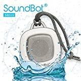 SoundBot SB522 FM RADIO HD Bluetooth Wireless Water Weather Resistant Shower Speaker Portable High Performance 3W 40mm Premium Driver Hands-Free Talking Speakerphone Car Kit w/ Built-in FM Radio Tuner, 3.5mm Aux Cable, Mic, Rechargeable Battery, 7Hrs Play