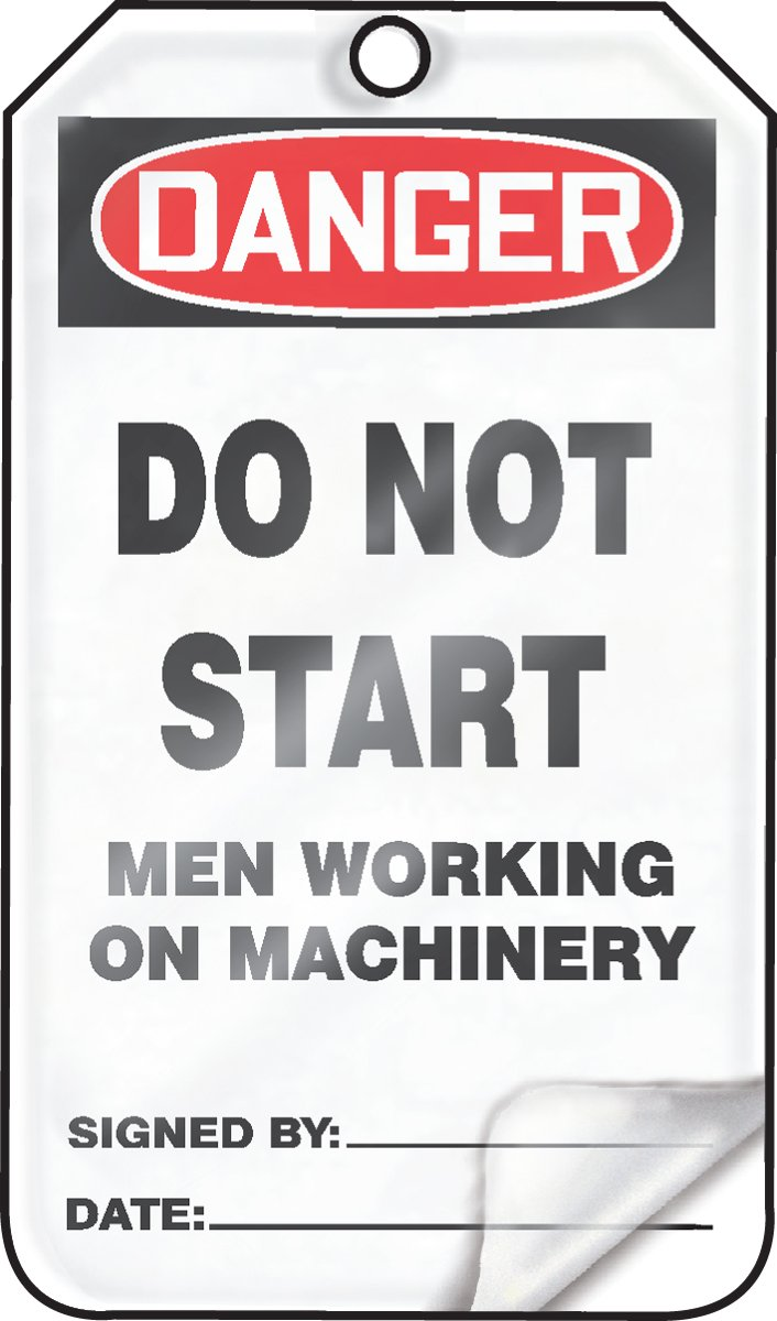 Red//Black on White LegendDANGER DO NOT START MEN WORKING ON MACHINERY 5.75 Length x 3.25 Width x 0.015 Thickness Pack of 25 Accuform MDT115LPP RP-Plastic Safety Tag