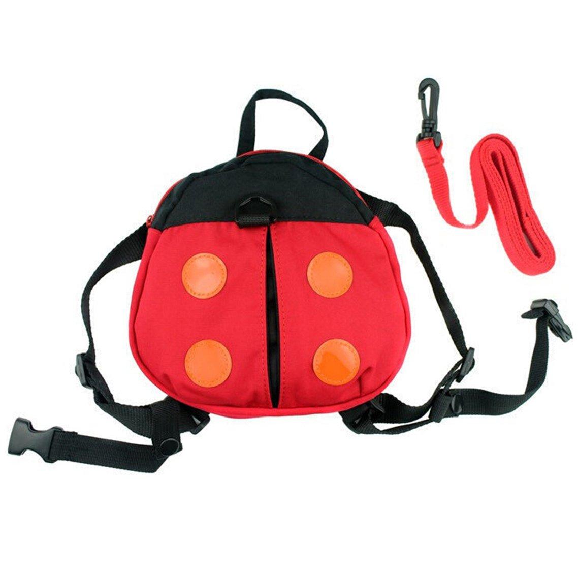 Bluelans® Cute Kids Keeper Toddler Walking Safety Harness Backpack Security Strap Rein Belt Red Ladybug Bag Strap Bag Walker Learning (Ladybug)