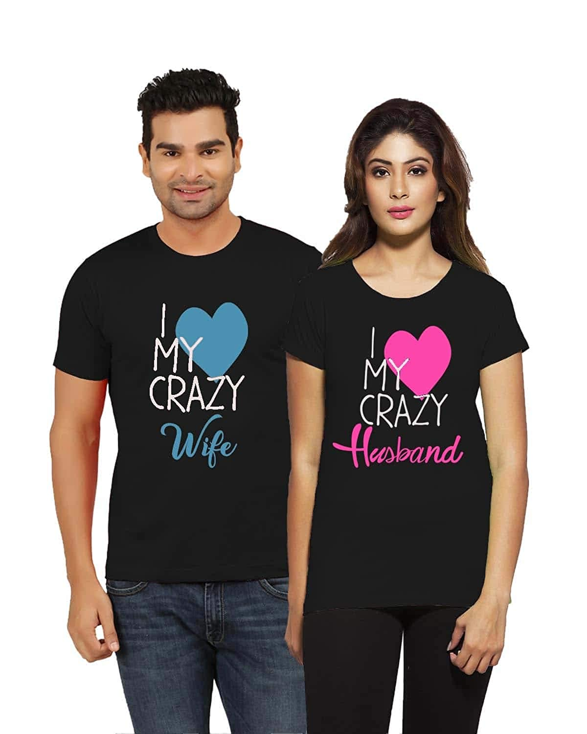 8feebff0ce8a15 Jopo Love Crazy Husband and Wife Couple Cotton T-Shirts for Men and Women ( Black-Yellow Set of 2): Amazon.in: Clothing & Accessories