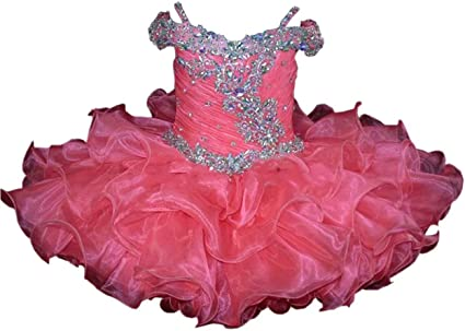 Infant toddle kids mini party pageant dress cupcake ball gowns Tutu Dance Custom