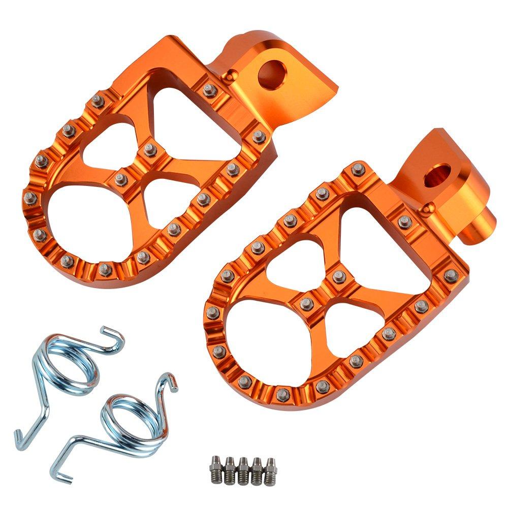NICECNC Billet 57mm Wide Foot Pegs Footrest for 65SX 09-18, 85SX 03-17, 150-300XC/250XC-F 200-530XC-W/XCF-W 06-16, 125SX/250-450SX-F, 250SX, 125-530 EXC/EXC-F, 350-450XC-F, FREERIDE 250F 2018, 250R/350