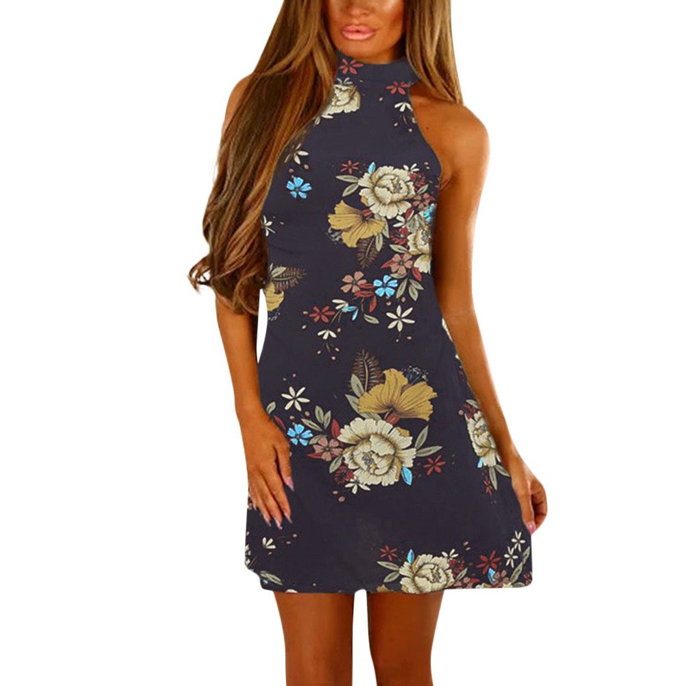 Women Summer Boho Floral Print O-Neck Mini Dress Casual Backless Sleeveless Party Shirt Tank Dresses Beach Sundress Navy