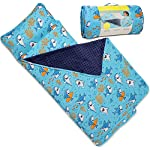 Kids Nap Mat With Removable Pillow Soft Lightweight Mats Easy Clean Toddler Nap Pad For Preschool Daycare Kindergarten Children Sleeping Bag Blue With Shark Design By Bambino Bliss