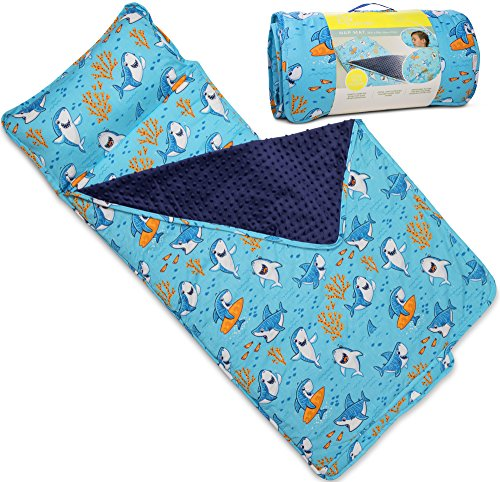 Kids Nap Mat with Removable Pillow - Soft, Lightweight Mats, Easy Clean Toddler Nap Pad for Preschool, Daycare, Kindergarten - Children Sleeping Bag (Blue with Shark Design) by Bambino Bliss for $<!--$47.95-->