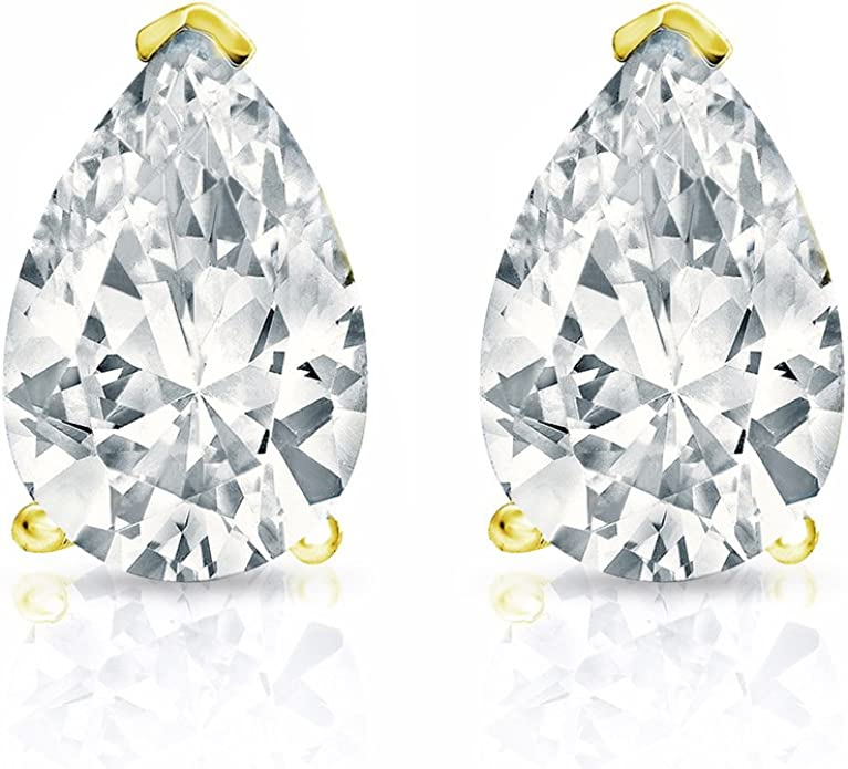 1//2cttw,Excellent Quality 14k White Gold Pear Diamond Simulated Cubic Zirconia SINGLE Stud Earring V-End Prong