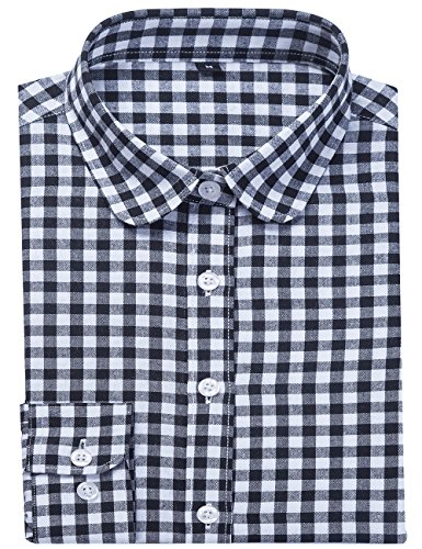 - DOKKIA Women's Fashion Tops Feminine Long Sleeve Button Down Work Casual Dress Blouses Shirts (XX-Large, Black White Plaid)