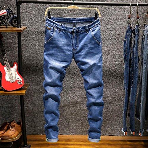 Bolsillos Deportivos Pantalones elásticos STRIR Hippie Vaqueros Pantalones Ropa Rotos Pantalones de Largos Harem Pantalones con Hombres Vaqueros para Vaqueros Azul Hombre Ajustados claro v6v7qR