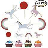 WANTING 24 PCS Unicorn Cupcake Toppers Cake Decoration Unicorn Gifts Topper for Wedding Baby Shower Birthday Party Decor