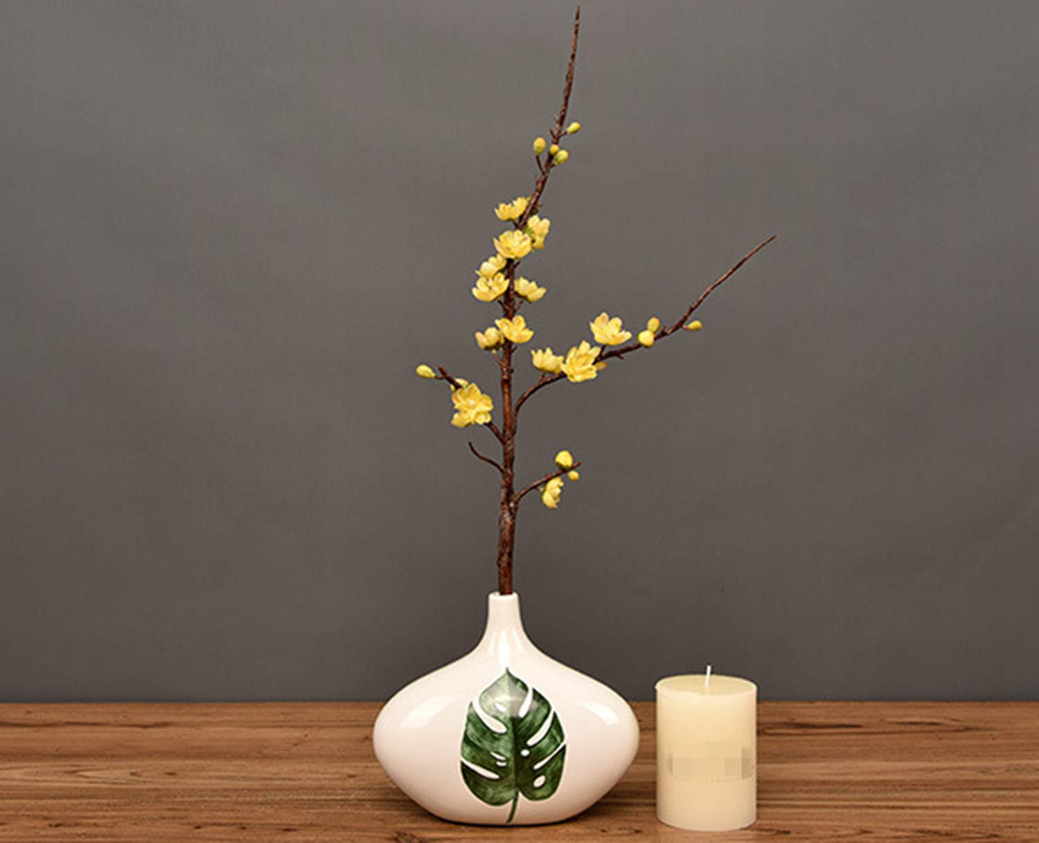 Skyseen-3Pcs-Artificial-Plum-Blossom-Branches-Flowers-Stems-Silk-Fake-Wintersweet-Arrangements-for-Home-Wedding-DecorationYellow